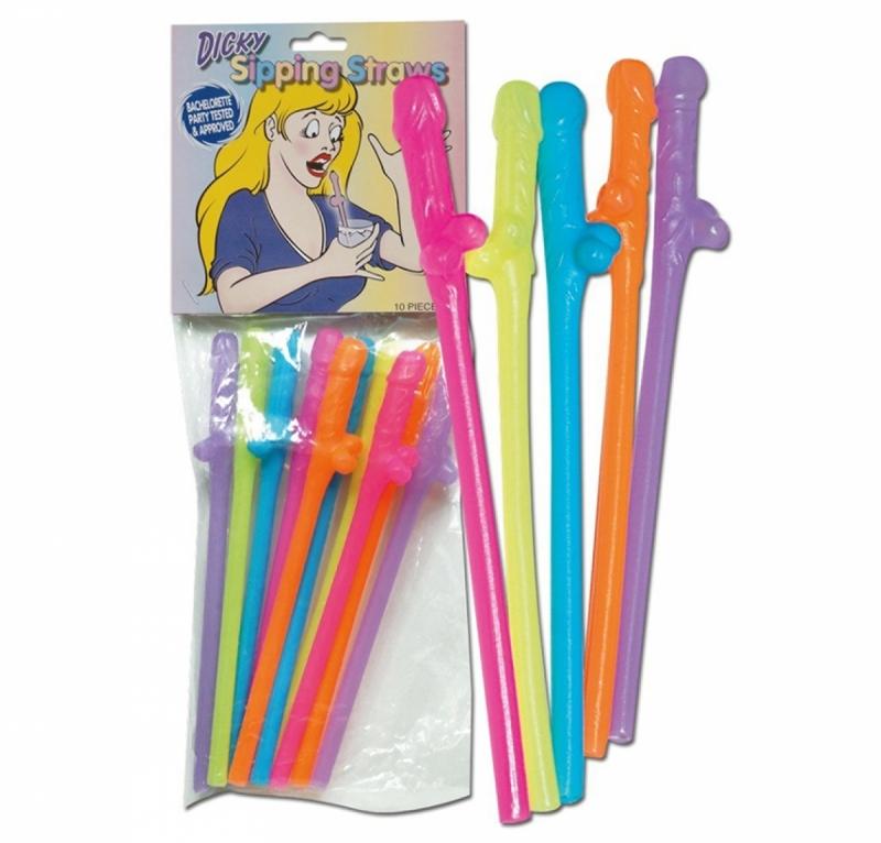 Трубочки для коктейлей разноцветные Penis Straws coloured