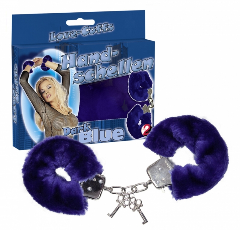 Наручники с мехом Love Cuffs Dark Blue